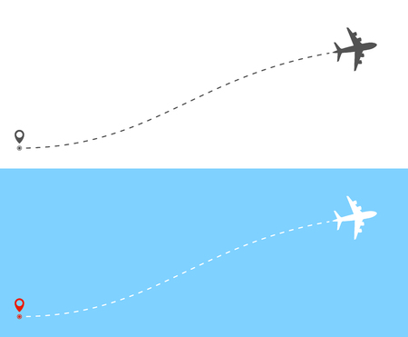 Airplane flight route with dash line trace Ilustrace