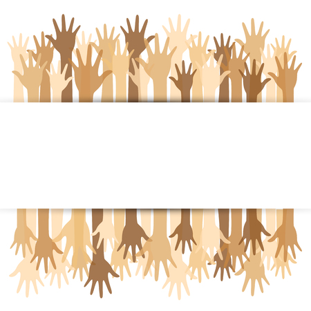 Diversity concept design, hands up and down