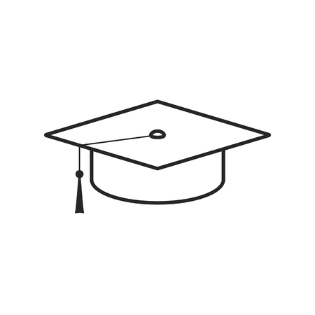 Graduation cap flat icon on white background, for any occasion Illustration