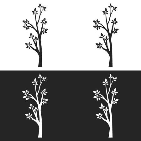 Set of tree silhouettes with branches on white and gray background