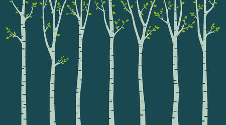 Birch tree silhouette on green background