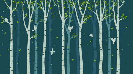 Abedul con silueta de aves sobre fondo verde