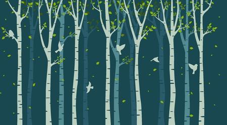 Birke mit Vogelsilhouette auf grünem Hintergrund