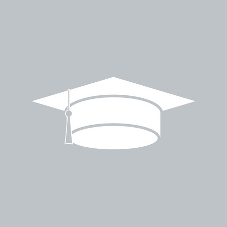 Graduation cap flat icon on gray background, for any occasion