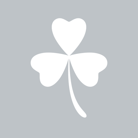 Clover flat icon on gray background, for any occasion