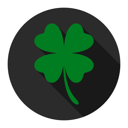 Clover flat icon on black background for any occasion