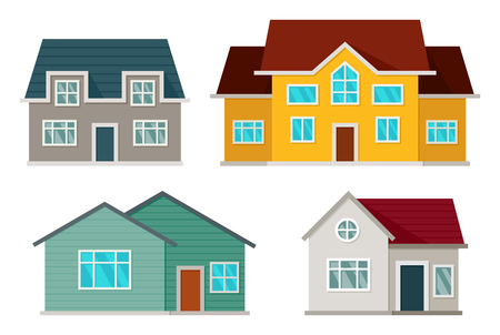 Set of houses front view Stock Illustratie