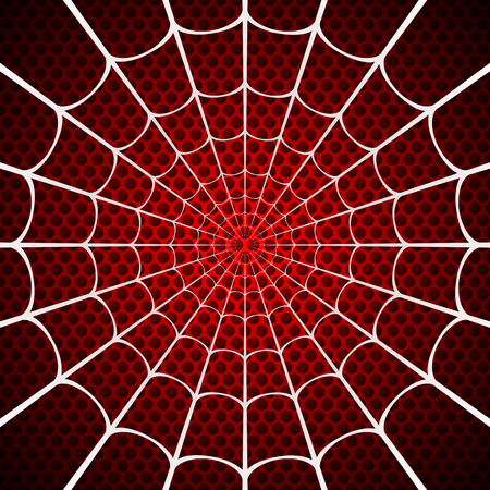 Toile d'araignée blanche sur fond rouge
