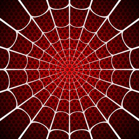 Weißes Spinnennetz auf rotem Grund