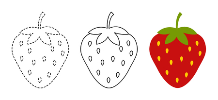 Strawberry to be colored and trace line educational game for background, promotion, sale, template, banner, flayer, poster and other Vektoros illusztráció