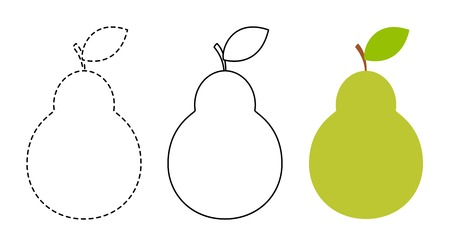 Pear to be colored and trace line educational game for background, promotion, sale, template, banner, flayer, poster and other Vektoros illusztráció