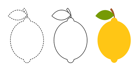 Lemon to be colored and trace line educational game for background, promotion, sale, template, banner, flayer, poster and other Illusztráció