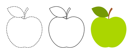 Apple to be colored and trace line educational game for background, promotion, sale, template, banner, flayer, poster and other