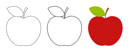 Apple to be colored and trace line educational game for background, promotion, sale, template, banner, flayer, poster and other Vektoros illusztráció