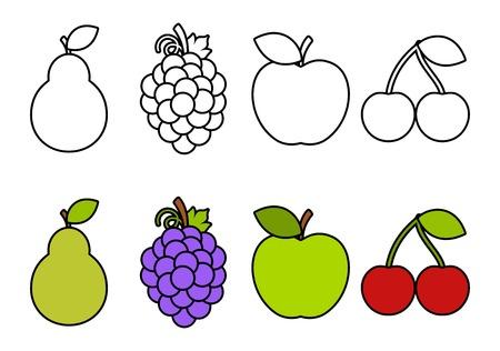 Malbuch mit Früchten für Hintergrund, Werbung, Verkauf, Vorlage, Banner, Flayer, Poster und andere