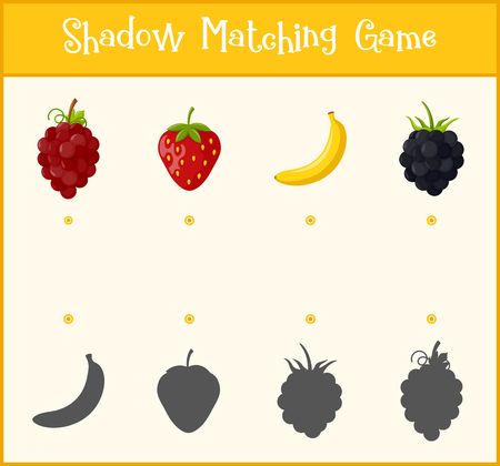 Kids learning game, shadow matching game, vector