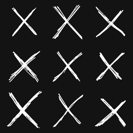 Set of hand drawn grunge letter X