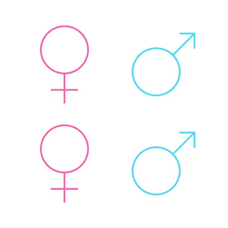 Set of male and female line symbols