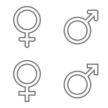 Set of male and female line symbols