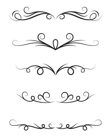 Conjunto de elementos decorativos ornamentales sobre fondo blanco. Ilustración de vector