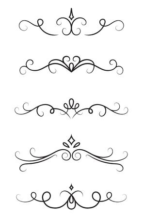 Set of ornamental decorative elements on white background Ilustração Vetorial