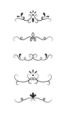 Set of ornamental decorative elements on white background