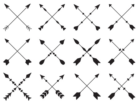 Set of crossed arrows on white background