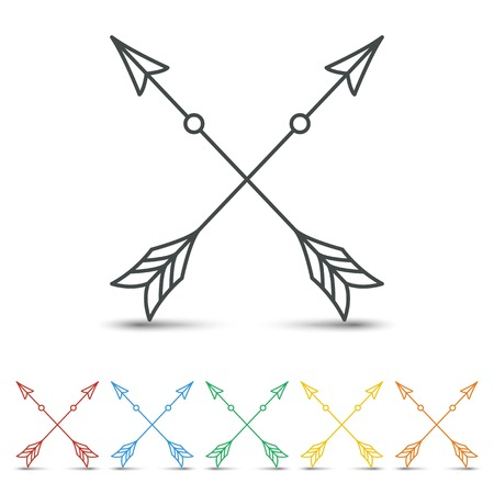 Crossed arrow icon set flat design on white background
