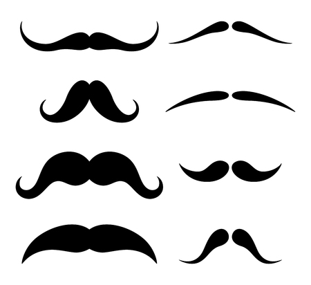 Set of hipster mustache on white background