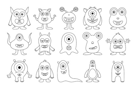 Set of cute monster on white background
