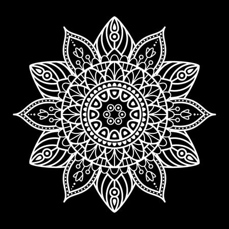 Round mandala for coloring on black background