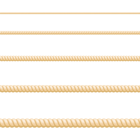 Seamless of brown rope on white background Vetores