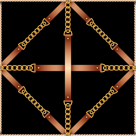 Seamless pattern with belts, chains and rope on black background