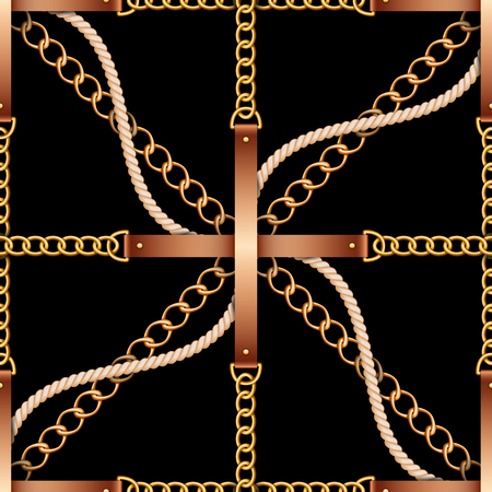 Seamless pattern with belts, chains and rope on black background  イラスト・ベクター素材