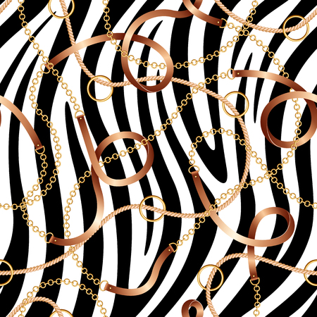 Seamless pattern with belts, chains and rope on zebra skin background