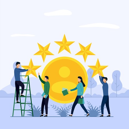 Stars rating, people are holding stars, business concept vector illustration 向量圖像