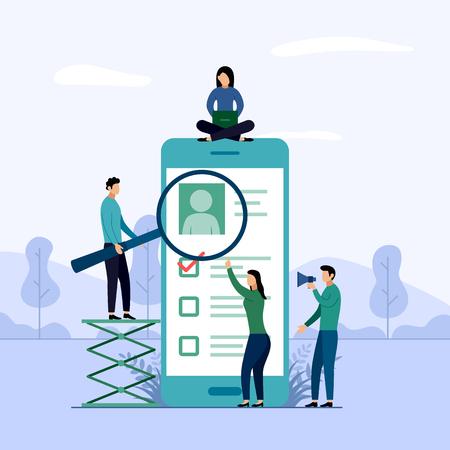 Online survey report, checklist, questionnaire, business concept vector illustration Illustration