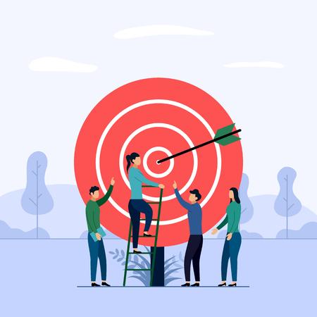 Target business teamwork, arrow hitting a target, business concept vector illustration