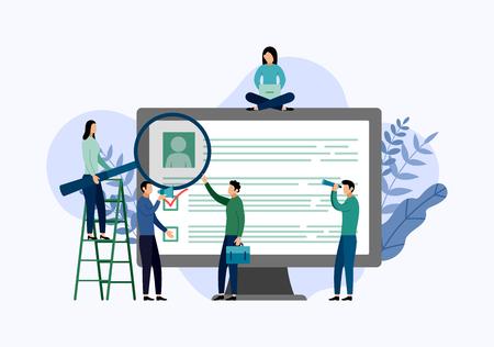 Job hiring and online recruitment, checklist, questionnaire, business concept vector illustration Illusztráció