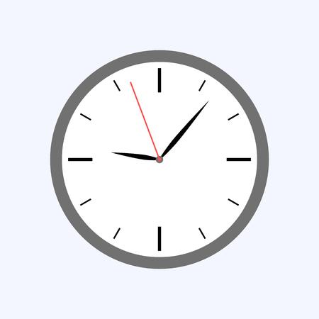 Szary zegar płaski na białym tle na niebieskim tle