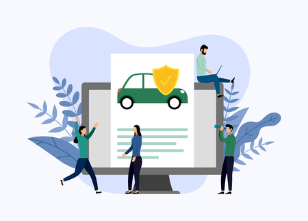 Car protection, business concept vector illustration