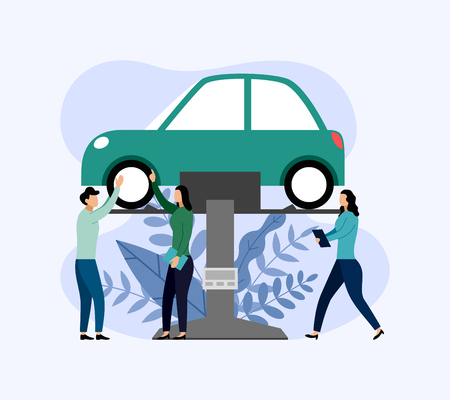 Car service and repair, workers fixing car, business concept vector illustration