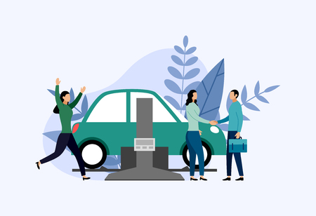 Car service and repair, workers fixing car, business concept vector illustration Vetores
