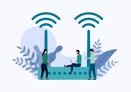 Wireless  modem router with characters, business concept vector illustration