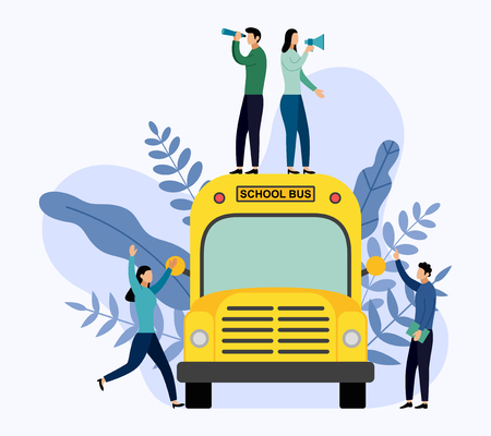 People stand on school bus, education vector illustration