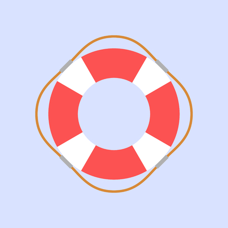 Lifebuoy flat design style on blue background, vector illustration
