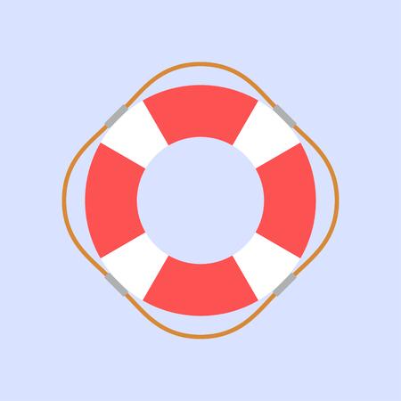 Style de conception plate de bouée de sauvetage sur fond bleu, illustration vectorielle