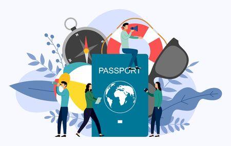 International passport with human concepts, travel vector illustration