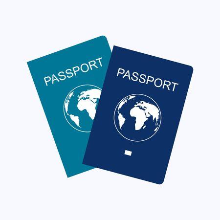 Passport flat design style on white background, vector illustration Illustration