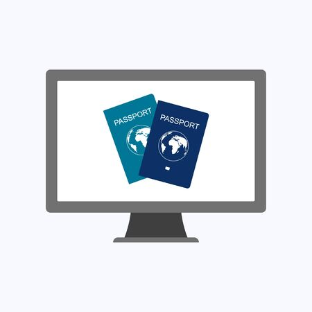 International passport with computer, business concept vector illustration